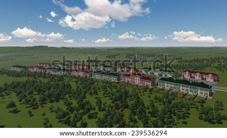 Isometric view of town houses. Beautiful green vilage landscape. 3d rendering. - stock photo