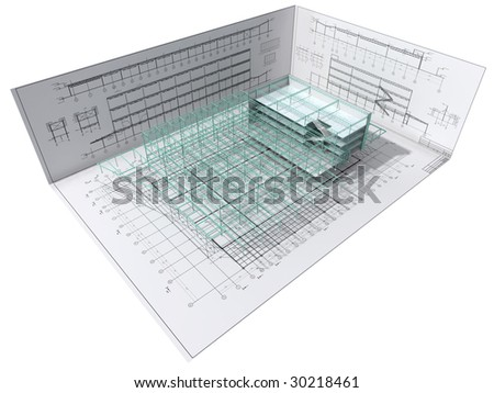 Isometric view the skeleton of an industrial building on architect?s drawing.