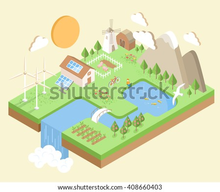 Isometric Village Country City Eco Green Environment Concept Isolated on Beige Background
