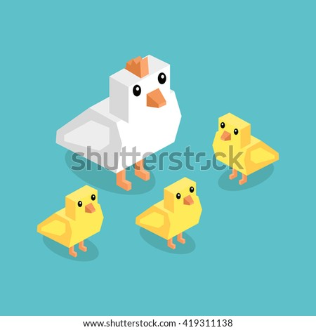 Isometric white chicken with yellow chick. Isometric white 3d chicken with yellow chickens isolated on background, cute a little young farm bird fluffy, adorable small bird poultry - stock photo