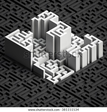 isometric white labyrinth, abstract black maze background, 3d structure - stock photo