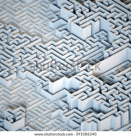 isometric white labyrinth, abstract maze background, 3d structure - stock photo