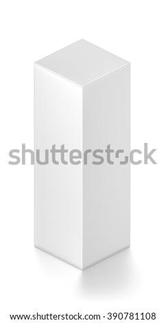 Isometric white tall rectangle blank box isolated on white background. - stock photo