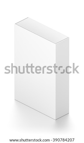 Isometric white tall rectangle blank box isolated on white background.
