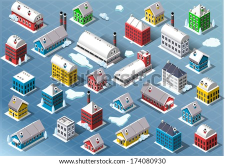 Isometric Winter Buildings Arctic City Map Elements. Northern Buildings City Winter Infographics Illustration.
