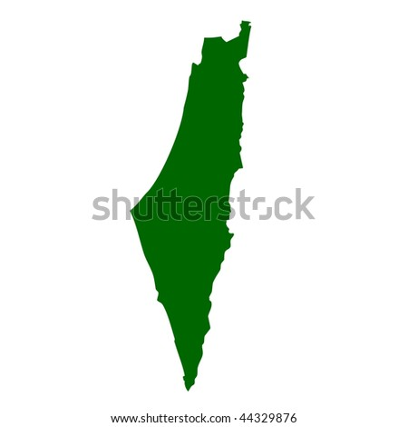 Israel and West Bank map isolated on white background. - stock photo
