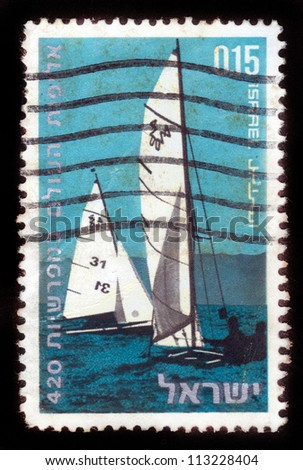 "ISRAEL - CIRCA 1970:  A stamp printed in Israel, series ""World Championship 420"" showing  sport sailing ships in the sea , World Championship; series, circa 1970"