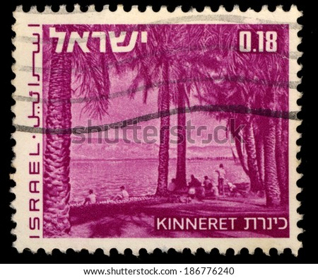 ISRAEL - CIRCA 1971: A stamp printed in Israel shows Landscapes of Israel with inscription Kinneret, circa 1971 - stock photo