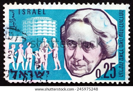 ISRAEL - CIRCA 1960: a stamp printed in the Israel shows Henrietta Szold and Hadassah Medical Center, Birth Centenary of Henrietta Szold, Founder of Hadassah, circa 1960 - stock photo