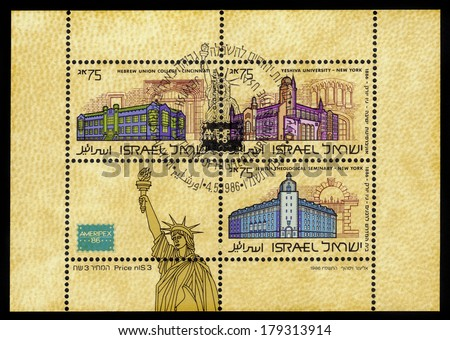 ISRAEL - CIRCA 1986: A stamp ( souvenir sheet ) printed in the Israel shows centers of Judaism in America against the backdrop of Statue of Liberty, circa 1986 - stock photo