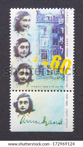 ISRAEL - CIRCA 1988: postage stamp printed in Israel showing images of Anne Frank, circa 1988.   - stock photo