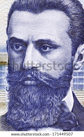 ISRAEL - CIRCA 1988: Theodor Herzl (1860-1904) on 10 Sheqalim 1988 Banknote from Israel. Jewish Austro-Hungarian journalist and the father of modern political Zionism and in effect the State of Israel