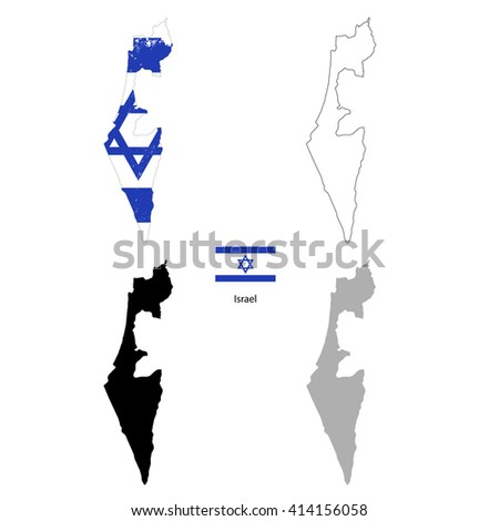 Israel country black silhouette and with flag on background, isolated on white
