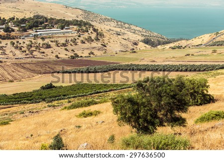 Israel countryside with farm and plants near Tiberias. - stock photo
