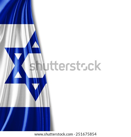 Israel flag and white background - stock photo