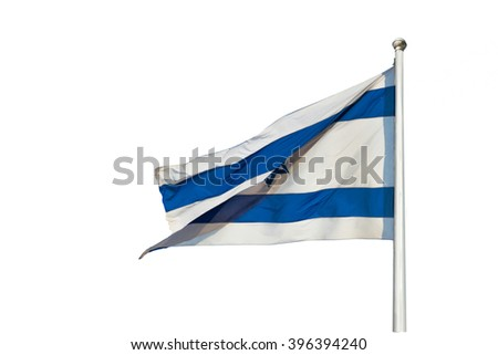 Israel flag flapping in the wind isolated on white. The flag is on a pole and flapping to the left. there are white clouds in the sky - stock photo