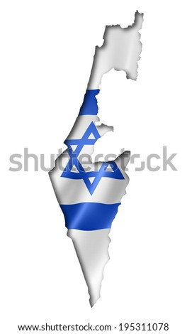 Israel flag map, three dimensional render, isolated on white - stock photo