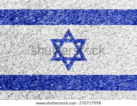 Israel flag on grass background texture - stock photo