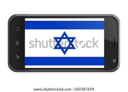 Israel flag on smartphone screen isolated on white - stock photo