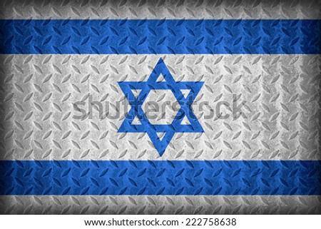 Israel flag pattern on the diamond metal plate texture ,vintage style - stock photo