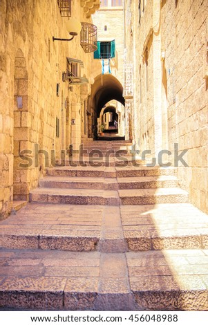 Israel, Jerusalem, stone streets. The tunnel with steps... - stock photo