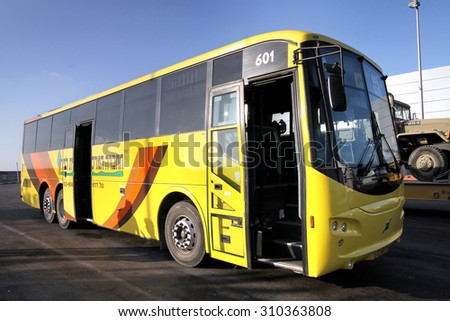 ISRAEL - JULY 17, 2013:  Armored triaxial long-distance passenger bus - stock photo