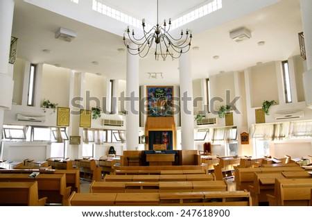ISRAEL - JULY 17, 2013: Interior of the Ashkenazic synagogue in Samaria - stock photo