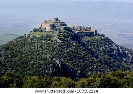 Israel landscape view of Nimrod Fortress at the Golan Heights, Israel. - stock photo