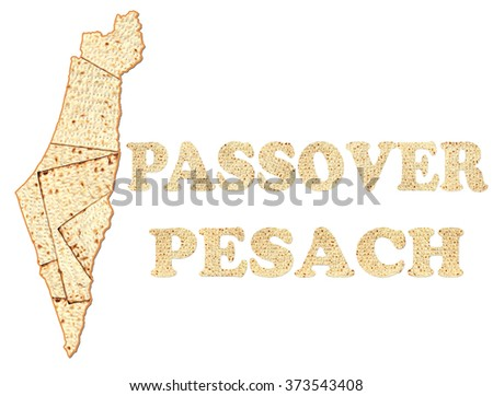 Israel map and words Passover and Pesach (in Hebrew ) made of Matzoh ( matzah or matzo) is Jewish flat dry bread and symbol of Traditional Jewish holiday. Isolated on white  - stock photo