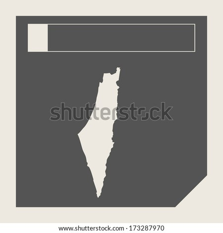 Israel map button in responsive flat web design map button isolated with clipping path.