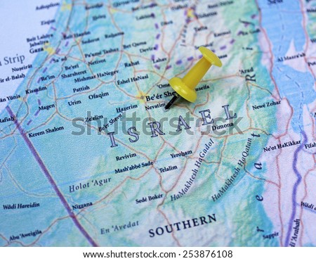 Israel map close up with a push pin - stock photo