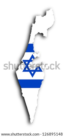 Israel map with the flag inside, isolated - stock photo