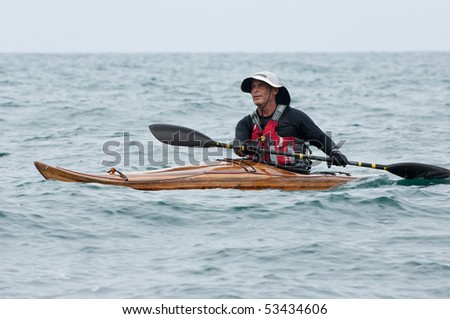 ISRAEL, TEL-AVIV-JAFFA, MAY 5: Participant in the Open Israel championship of sea kayaking. on may 5, 2010 in Tel-Aviv - Jaffa