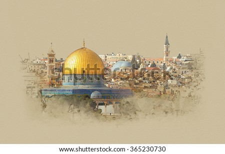 Israel, the dome of the rock in Jerusalem, watercolor sketch - stock photo