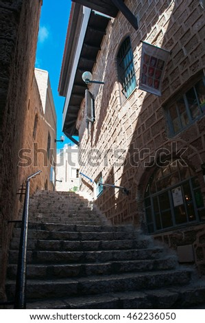Israel: view of the alleys of the Old City of Jaffa on August 31, 2015. Jaffa is the oldest part of Tel Aviv Yafo and one of the most ancient port city in Israel
