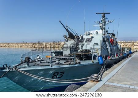 Israel War Ship, in the marine - stock photo
