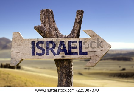 Israel wooden sign with a desert background - stock photo