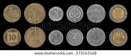 Israeli coins isolated on the black background ( Both sides of each value coin). Values: 10 Agorot; 1/2 a Shekel (50 Agorot); 1 Shekel; 2 Shekels (Shnekel); 5 Shekels; 10 Shekels  - stock photo