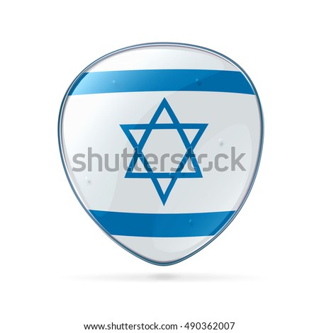 Israeli Flag icon, isolated on white background.