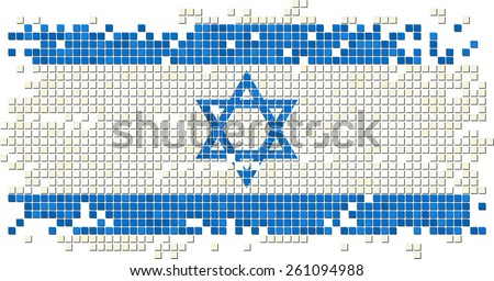 Israeli grunge tile flag. Raster version - stock photo