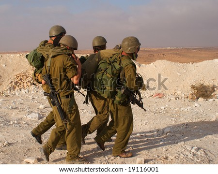 israeli soldiers attacks - war againist terror - stock photo