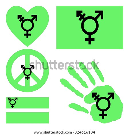 Israeli transgender and genderqueer pride flag, heart, pacific sign, equality symbol and hand print for you design. Collection of gay culture symbols. Raster version. - stock photo