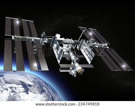 ISS, International Space Station, earth, space. Elements of this image are furnished by NASA - stock photo
