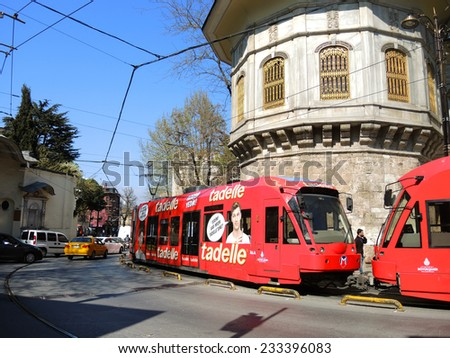 ISTANBUL - APRIL 9: Modern tram in the historical city, on April 9, 2014 in Istanbul, Turkey.