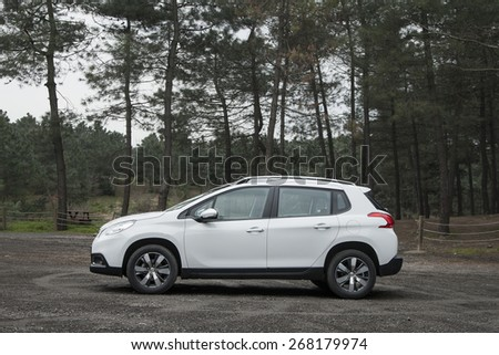 ISTANBUL - APRIL: Peugeot 2008 compact SUV on April, 2015 Istanbul. Peugeot, the French car, bicycle and motorcycle brand, today is part of PSA Peugeot Citroen. - stock photo