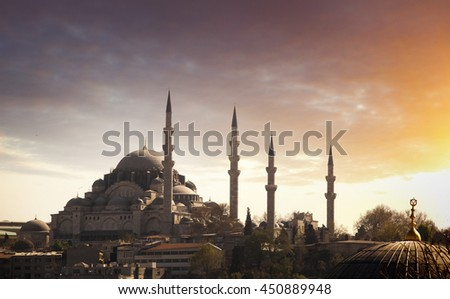 Istanbul at sunset, Turkey - stock photo