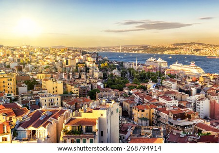 Istanbul at sunset, Turkey. Bosphorus divides the city into the Asian and European parts. View from the European side. - stock photo