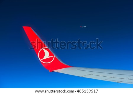 ISTANBUL - August 27: Airbus A-321 wing and wingtip device during Turkish Airlines Airbus A-321 flight in the sky on August 27 2015.