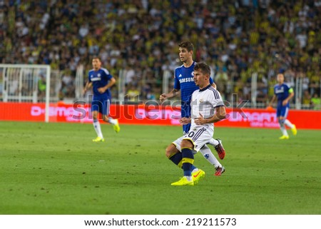 ISTANBUL - AUGUST 08, 2014: Chelsea is attacking to Fenerbahce in Soma Charity Tournament in Sukru Saracoglu Stadium.