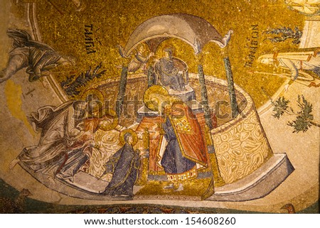 ISTANBUL - AUGUST 31: Mosaics of Chora Church on August 31, 2013 in Istanbul, Turkey. Original church was built in the early 5th century, decoration of the interior was done between 1315 and 1321.